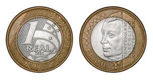 Pièce de monnaie brésilienne Juscelino centenaire Kubitschek ` commémoratif du ` un de vrai photographie stock
