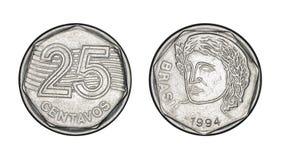 Pièce de monnaie brésilienne de vingt-cinq cents vraie, avant et visages arrières - Ol photos libres de droits