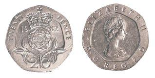 pièce de monnaie britannique de 20 penny Images libres de droits