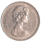 pièce de monnaie britannique de 5 penny Images libres de droits