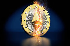 Pièce de monnaie cassée d'Ethereum - Ethereum la crypto devise virtuelle - rendu 3D Images stock