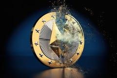 Pièce de monnaie cassée d'Ethereum - Ethereum la crypto devise virtuelle - rendu 3D Image libre de droits