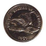 1 pièce de monnaie de cent, Etats-Unis a isolé au-dessus du blanc Photos libres de droits