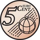 Pièce de monnaie de cent de l'euro cinq illustration stock