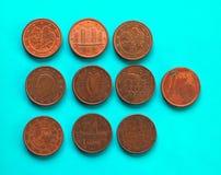 1 pièce de monnaie de cent, Union européenne au-dessus de vert-bleu Photo stock
