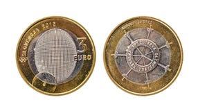 Pièce de monnaie commémorative utilisée de la Slovénie de ¬ de 'd'â d'euro du bimétal 3 d'anniversaire Photo stock