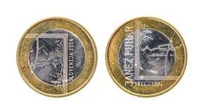 Pièce de monnaie commémorative utilisée de la Slovénie de ¬ de 'd'â d'euro du bimétal 3 d'anniversaire Images libres de droits