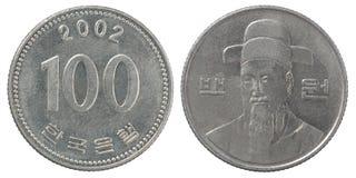 Pièce de monnaie coréenne de wons Photographie stock libre de droits
