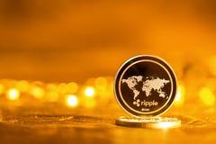 Pièce de monnaie de cryptocurrency d'ONDULATION photographie stock