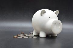 Pièce de monnaie d'économie dans le ferroutage de blanc sur le fond noir Image stock