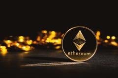 Pièce de monnaie d'éther d'Ethereum photographie stock