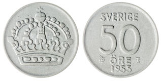 50 pièce de monnaie d'öre 1955 d'isolement sur le fond blanc, Suède Images libres de droits