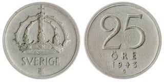 25 pièce de monnaie d'öre 1943 d'isolement sur le fond blanc, Suède Photos stock
