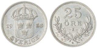 25 pièce de monnaie d'öre 1936 d'isolement sur le fond blanc, Suède Photographie stock