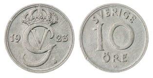 10 pièce de monnaie d'öre 1923 d'isolement sur le fond blanc, Suède Images stock