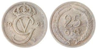 25 pièce de monnaie d'öre 1921 d'isolement sur le fond blanc, Suède Image libre de droits