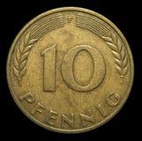 pièce de monnaie d'Allemand de 10 pennys Photographie stock libre de droits