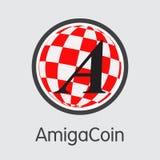 Pièce de monnaie d'Amigacoin Cryptocurrency Symbole de vecteur d'AGA Photo stock