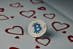 Pièce de monnaie d'amour de Bitcoin Images libres de droits