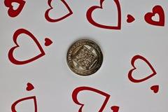 Pièce de monnaie d'amour de Bitcoin Images stock