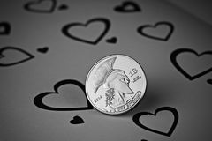 Pièce de monnaie d'amour de Bitcoin Photos stock