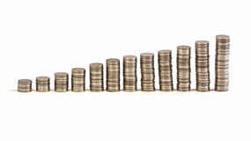 Pièce de monnaie d'argent sur la table blanche Photographie stock
