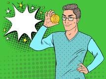 Pièce de monnaie d'Art Handsome Man Holding Golden Bitcoin de bruit Crypto concept de devise Argent virtuel Illustration Stock