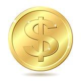 Pièce de monnaie d'or avec le signe du dollar Photographie stock libre de droits