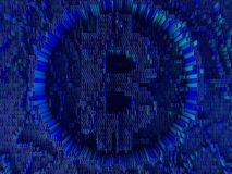 Pièce de monnaie d'or avec le symbole de Bitcoin Devise de Digital 3d Photo stock