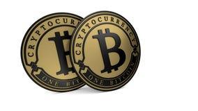 Pièce de monnaie d'or de Bitcoin de platine Photos libres de droits