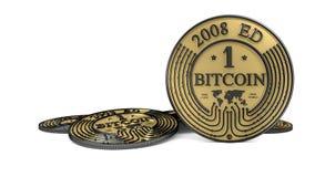 Pièce de monnaie d'or de Bitcoin de platine Images libres de droits