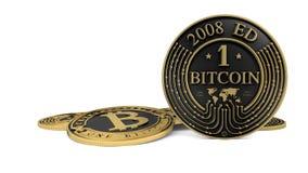 Pièce de monnaie d'or de Bitcoin de platine Photographie stock