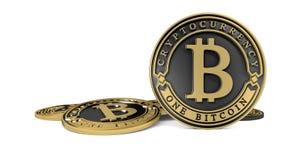Pièce de monnaie d'or de Bitcoin de platine Photographie stock libre de droits
