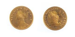 Pièce de monnaie d'or chilienne du Chili Images libres de droits