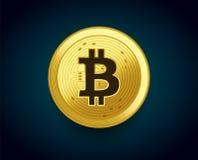 Pièce de monnaie d'or de crypto devise de Bitcoin - dirigez le concept d'illustration du symbole monétaire Image libre de droits