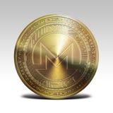 Pièce de monnaie d'or de monero d'isolement sur le rendu blanc du fond 3d Image libre de droits