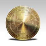 Pièce de monnaie d'or de zcash de z-argent liquide d'isolement sur le rendu blanc du fond 3d Photos libres de droits