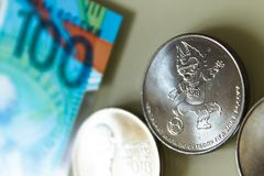 Pièce de monnaie 2018 d'edition spéciale de la RUSSIE de COUPE DU MONDE de la FIFA de 25 roubles de valeur Images stock