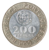 Pièce de monnaie d'escudo portugais Photo libre de droits