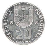 Pièce de monnaie d'escudo portugais Images libres de droits