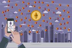 Pièce de monnaie d'Ethereum et réseau de Blockchain Image libre de droits