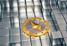 Pièce de monnaie d'Ethereum sur les cubes argentés - rendu 3D Images stock