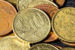 Pièce de monnaie d'euro de Dix cents Photo stock