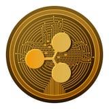 Pièce de monnaie d'ondulation de Cryptocurrency avec des lignes de circuit illustration libre de droits