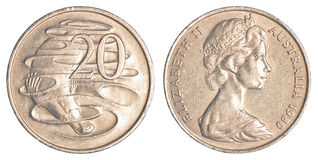 pièce de monnaie de 20 cents australiens Image stock