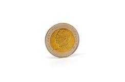 Pièce de monnaie de baht de la Thaïlande d'isolement Photographie stock libre de droits