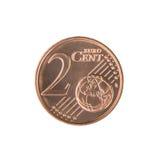 Pièce de monnaie de cent de l'euro deux Images libres de droits