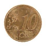 Pièce de monnaie de cent de l'euro Dix Photographie stock
