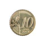 Pièce de monnaie de cent de l'euro Dix Image stock