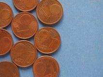 1 pièce de monnaie de cent, fond d'Union européenne avec l'espace de copie Image libre de droits